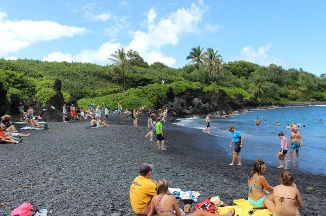 Waianapanapa Black Sand Beach Hawaii Maui